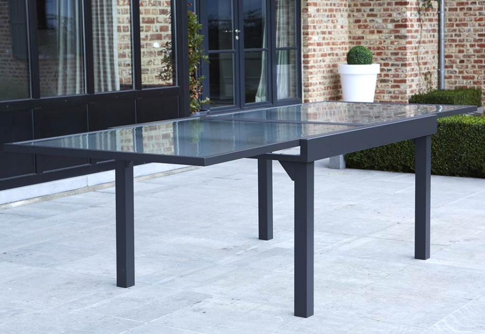 Table de jardin extensible \'SAMUI\' en aluminium blanc mat ...