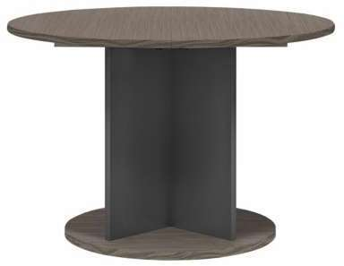 table ronde avec allonge lasco jusqu 6 couverts couleur chene reglisse. Black Bedroom Furniture Sets. Home Design Ideas