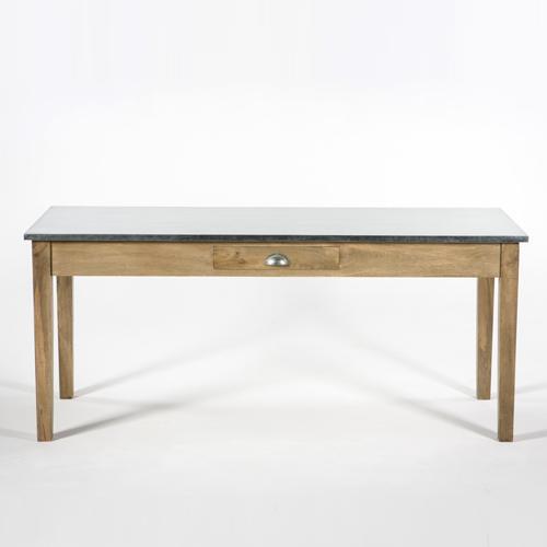 table bois plateau zinc. Black Bedroom Furniture Sets. Home Design Ideas