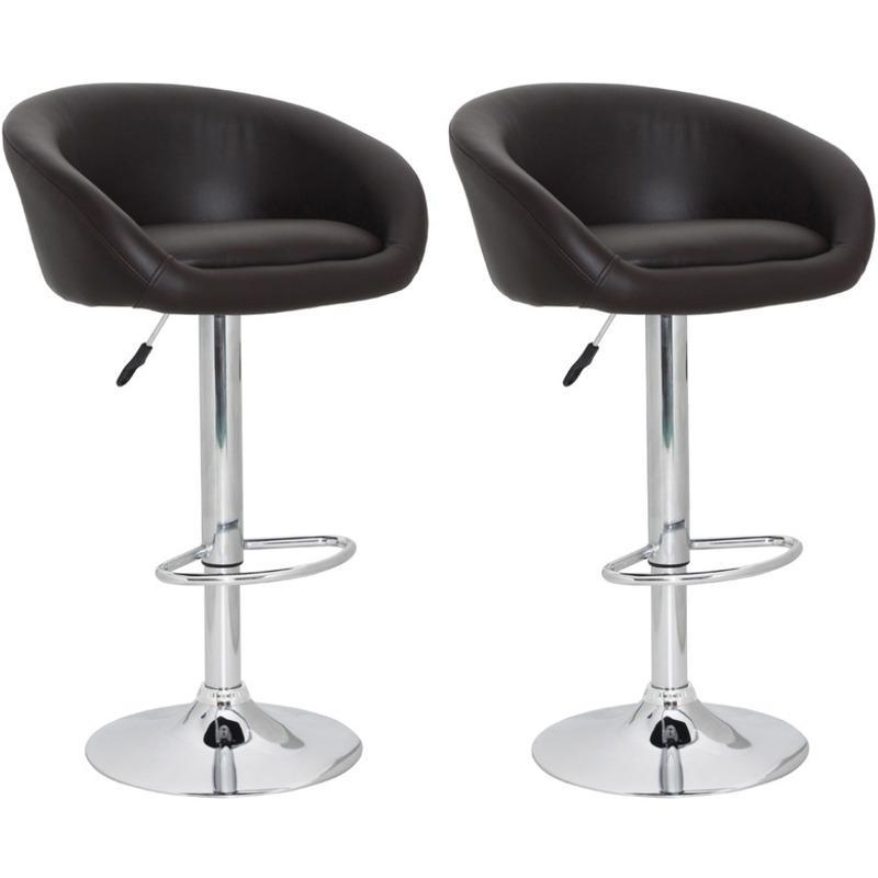 vidaxl c lot de 2 tabourets bar bruns avec accoudoirs. Black Bedroom Furniture Sets. Home Design Ideas