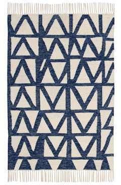 Tapis En Coton Indigo Tiss Main Tikola Dimensions 120x170 Cm