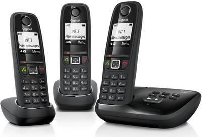 telephone sans fil gigaset gigaset as405a trio noir avec rpondeur. Black Bedroom Furniture Sets. Home Design Ideas